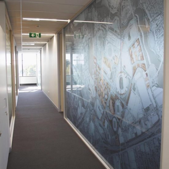 Graphics on meeting room wall